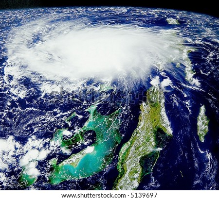 Tropical storm from space - stock photo