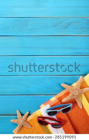 Tropical summer beach background, sunglasses, copy space, vertical - stock photo