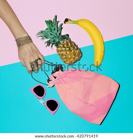 Tropical Summer. Fashion Accessories. Beach Lady Style.