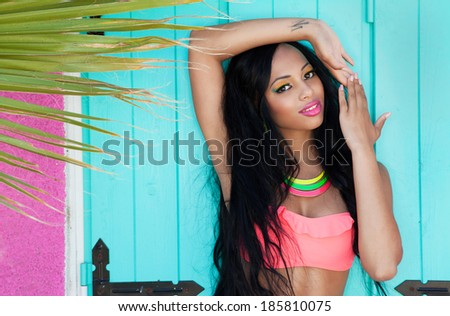Tropical summer holiday fashion beauty concept, attractive woman with artistic make up - stock photo