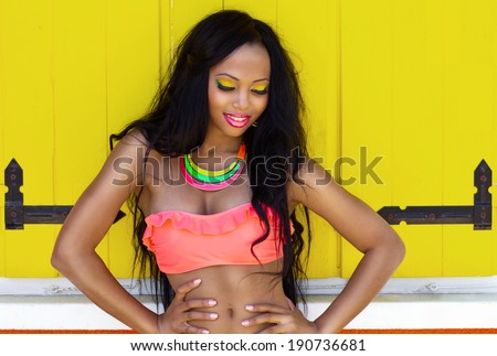 Tropical summer holiday fashion beauty concept, cheerful attractive woman with artistic make up  - stock photo
