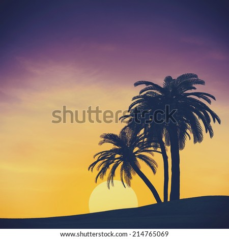 Tropical summer landscape with rising sun, abstract travel backgrounds for your design