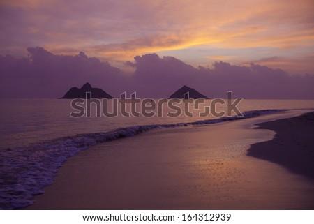 tropical sunrise in hawaii - stock photo