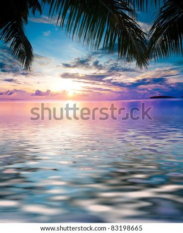 Tropical Sunset Evening Beach - stock photo