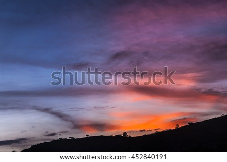 Tropical sunset in Guatemala and mountains