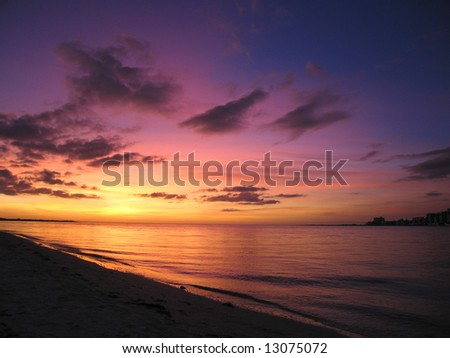 Tropical Sunset in South Florida. - stock photo