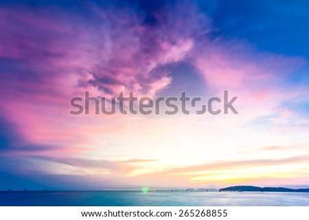 Tropical sunset on the beach. Ao-Nang. Krabi. Thailand - stock photo