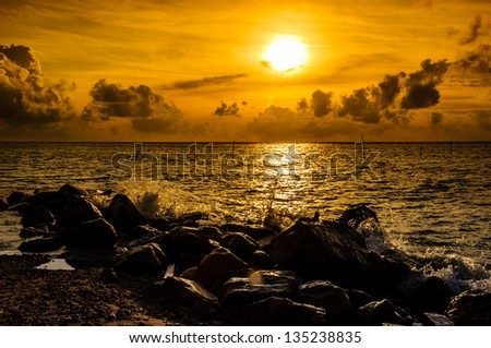 Tropical sunset on the beach Thailand - stock photo