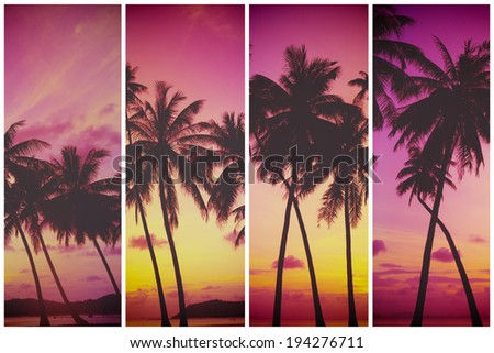 Tropical sunset over sea with palm trees, vintage stylized and toned - stock photo