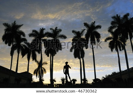 Tropical Sunset with Palm Tree Silhouettes in Sarasota, Florida - stock photo