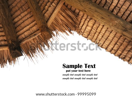 Tropical thatch roof isolated on white background