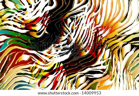 tropical tiger skin with colorful shades and whimsical animal lines. - stock photo