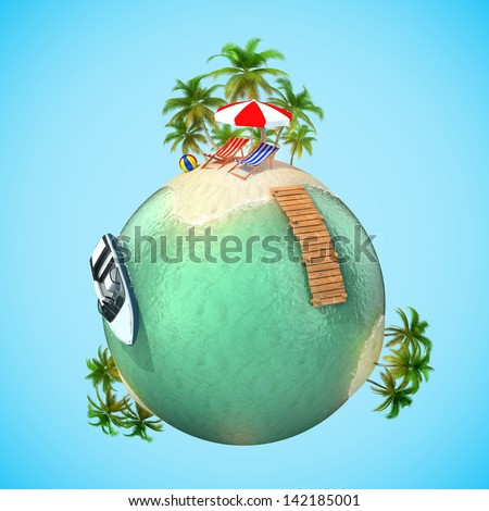 tropical travel vacation 3d planet - stock photo