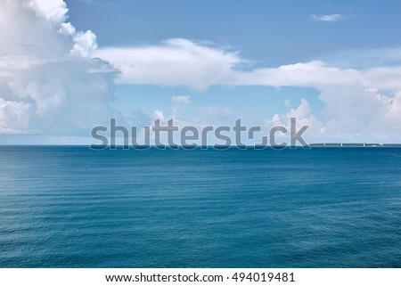 Tropical turquoise blue sea. View from above