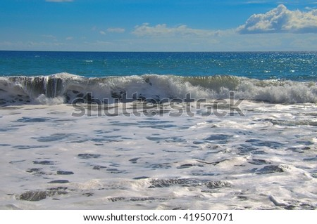 Tropical turquoise ocean waves.  Travel destination scenic location, Maui, Hawaii