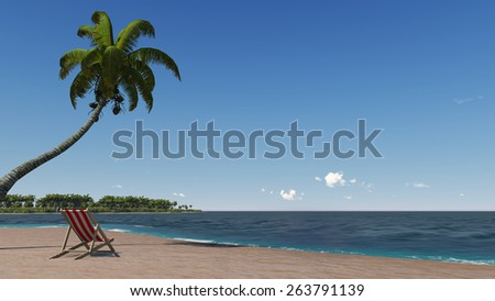 tropical turquoise sea, deckchair and palm on the beach - stock photo