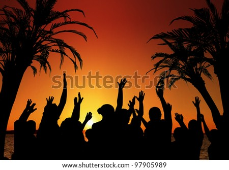 Tropical Vacation concept with dancers in the foreground against a colorful ocean sunset.