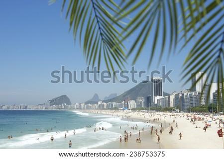 Tropical view of Copacabana Beach in Rio de Janeiro Brazil through palm fronds - stock photo