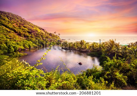 Tropical view to the Sweet Lake on Arambol beach at purple sky in Goa, India - stock photo