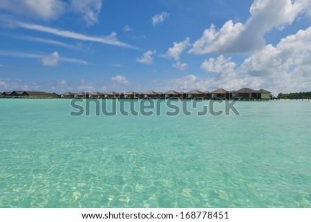 tropical water home villas resort  on Maldives island at summer vacation - stock photo