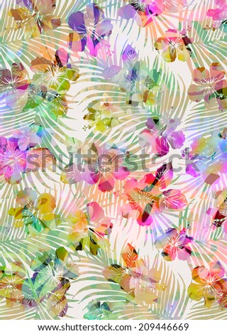 Tropical watercolor ~ fashion background - stock photo
