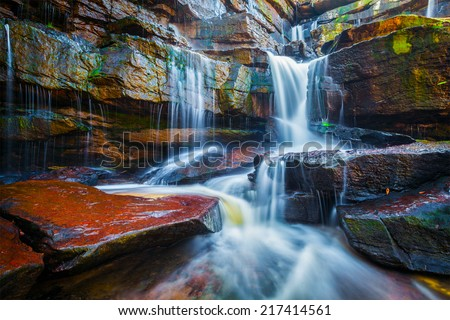 Tropical waterfall. Popokvil Waterfall, Bokor National Park, Cambodia - stock photo