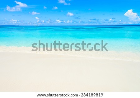 Tropical wave sea on the beach on blue sky background - stock photo