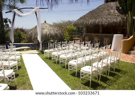 Tropical wedding in Mexico - stock photo