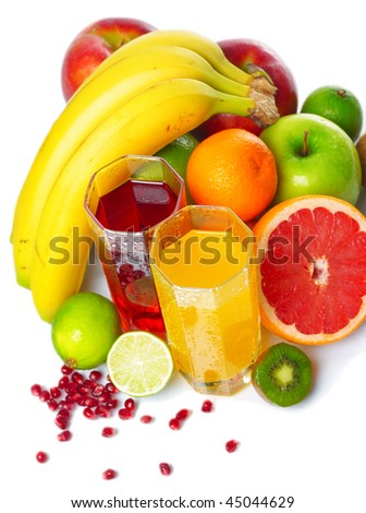 Tropical wet fruits with glasses on white background - stock photo