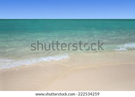 Tropical white sand beach and  turquoise sea - stock photo