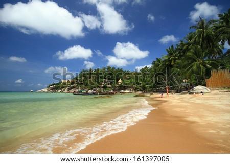 Tropical White Sand Beach Koh Tao island, Chumphon, Thailand - stock photo