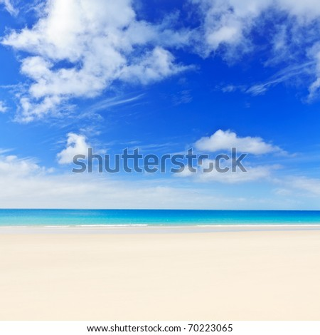 Tropical white sandy beach at sunny day. - stock photo