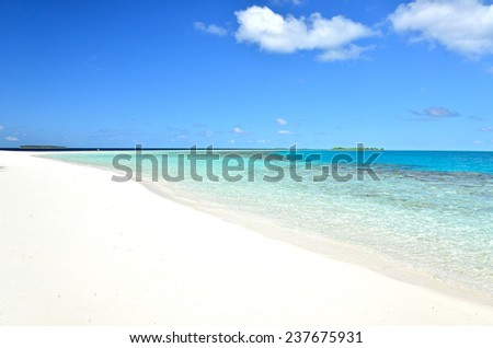 Tropical white sandy beach -- Maldives Seascape  - stock photo