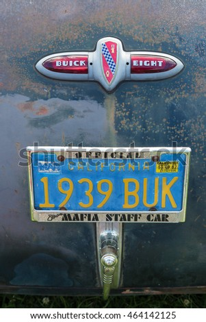 TROSA SWEDEN July 7 2016. Buick eight emblem.