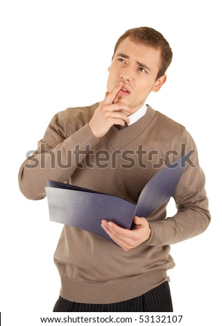 Troubled businessman is thinking with documents in his hands, on white background - stock photo