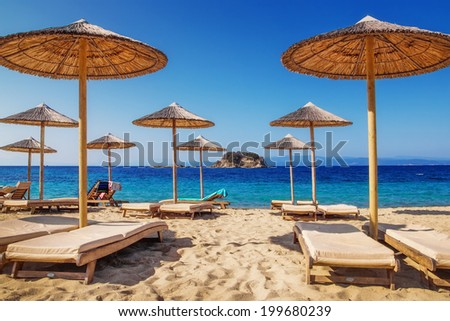 Troulos beach, Skiathos, Greece - stock photo