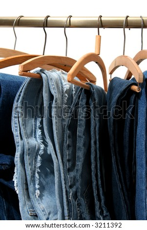 Trousers made of blue denim jeans hanging