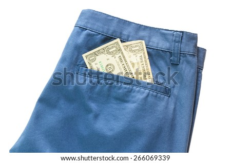 Trousers with american dollar on its pocket white background