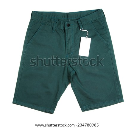 Trousers with tagging on white background