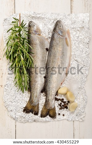 trout on aluminum foil with rosemary, salt, pepper corn and garlic - stock photo