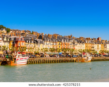 TROUVILLE, FRANCE - JUN 7, 2015: Architecture of Trouville, Normandy, France. Trouville is a village of fishermen and a popular tourist attraction in Normandy