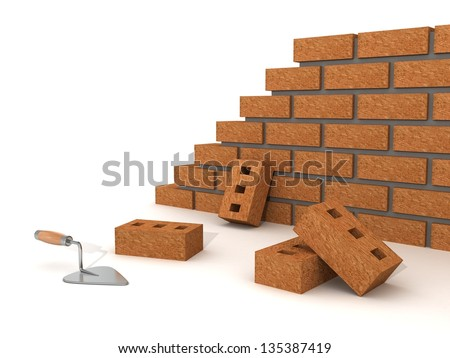 trowel and brick wall on white background - stock photo