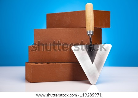 Trowel and bricks - stock photo