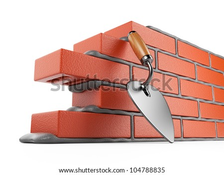 Trowel and bricks wall 3D. Work place. Isolated on white background - stock photo