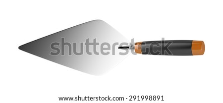 Trowel isolated on white background, top view - stock photo