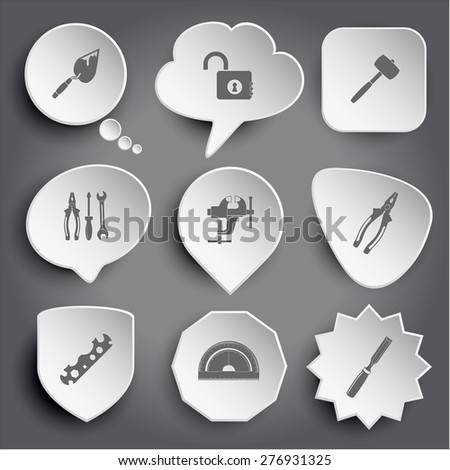 trowel, opened lock, mallet, tools, clamp, pliers, cycle spanner, protractor, chisel. White raster buttons on gray. - stock photo