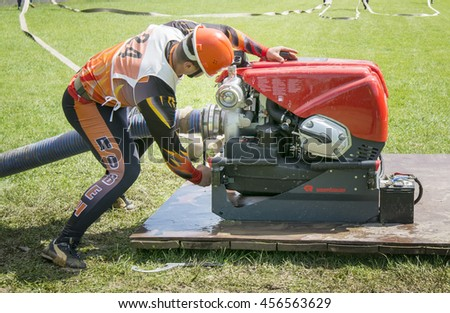 Troyan,Bulgaria - May 17,2016: Regional competition,During competitions in combat deployment during,Fire and Rescue Sport - stock photo