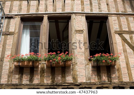 Troyes (Aube, Champagne-Ardenne, France) - Ancient half-timbered building, detail - stock photo