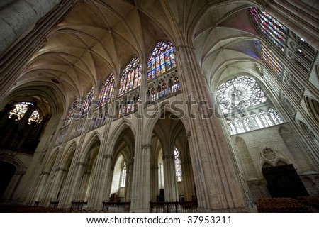 Troyes (Aube, Champagne-Ardenne, France) - Interior of the ancient cathedral, in gothic style - stock photo