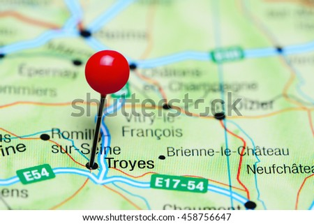Troyes Pinned On Map France Stock Photo 458756647 Shutterstock
